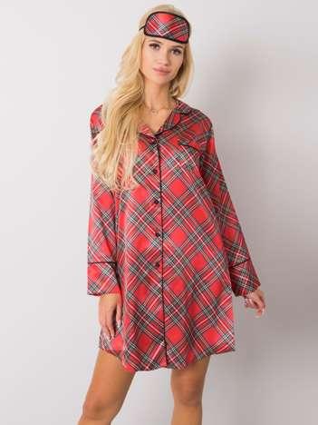 Czerwona koszula nocna w kratę