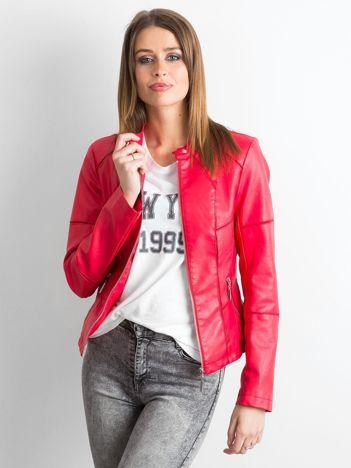Czerwona kurtka biker damska