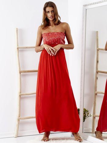 Czerwona sukienka maxi z cekinową górą