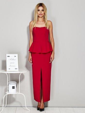 Czerwona sukienka wieczorowa z baskinką