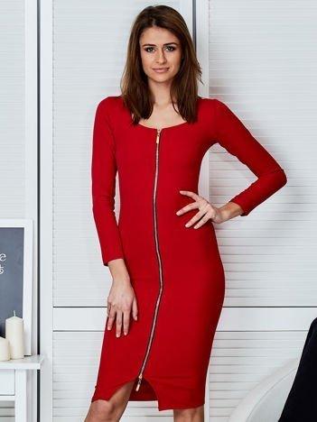 Czerwona sukienka z suwakiem