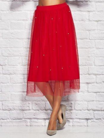 Czerwona tiulowa spódnica midi z perełkami