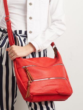 Czerwona torebka damska z suwakami