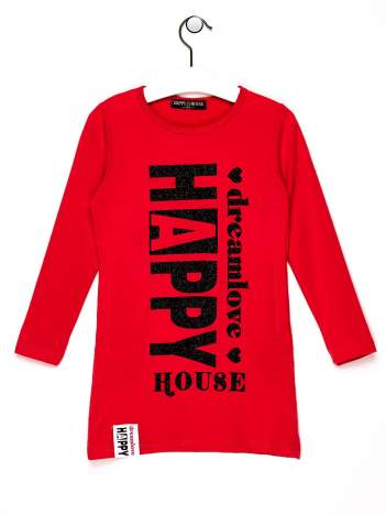 Czerwona tunika dla dziewczynki z napisem HAPPY