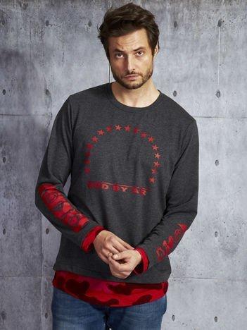 Czerwona warstwowa bluzka męska