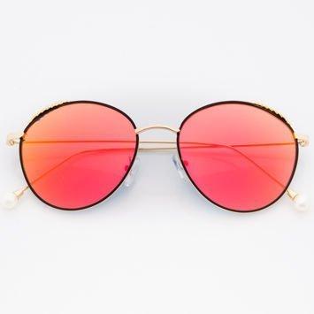 Czerwone Damskie Okulary Słoneczne Lustrzane Z PERŁAMI Na Zausznikach
