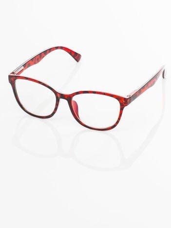Czerwone Modne okulary zerówki klasyczne - soczewki ANTYREFLEKS,system FLEX na zausznikach