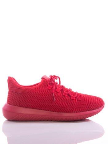 Czerwone ażurowe buty sportowe z wstawką z eco skóry, na sprężystej podeszwie