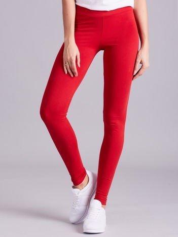 Czerwone legginsy damskie gładkie