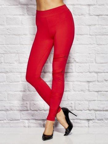 Czerwone legginsy z suwakami