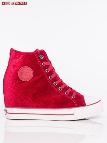 Czerwone sneakersy BIG STAR z tłoczonego, półbłyszczącego materiału