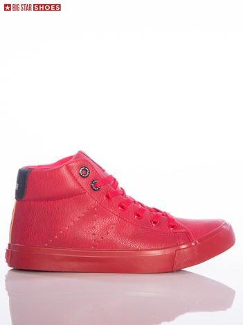 Czerwone trampki Big Star z wyższą cholewką i z czarnymi wstawkami nad piętą