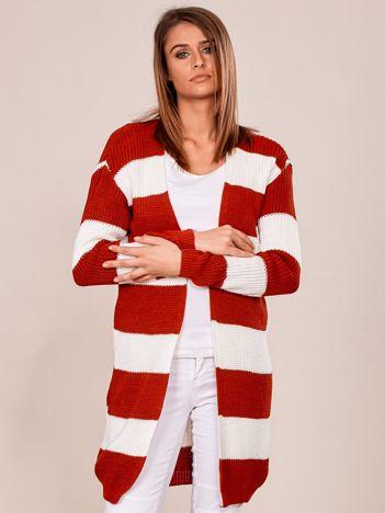 Czerwono-biały sweter bez zapięcia