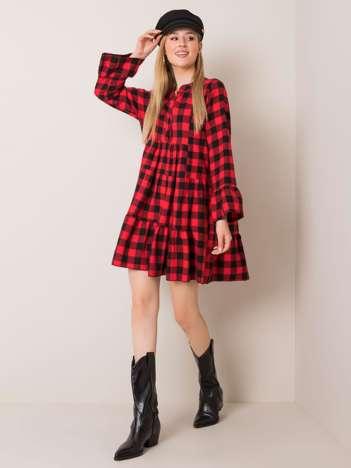 Czerwono-czarna sukienka Stella