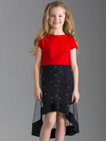 Czerwono-czarna sukienka dziewczęca z tiulem