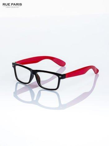 Czerwono-czarne okulary zerówki kujonki typu WAYFARER NERDY