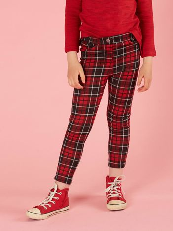 Czerwono-czarne spodnie dziewczęce w kratę