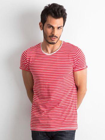 Czerwono-ecru męski t-shirt w paski