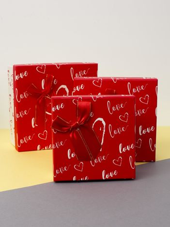 Czerwono-ecru zestaw pudełek dekoracyjnych