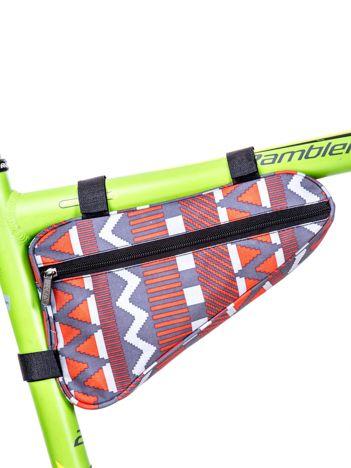 Czerwono-szara saszetka rowerowa w geometryczne desenie