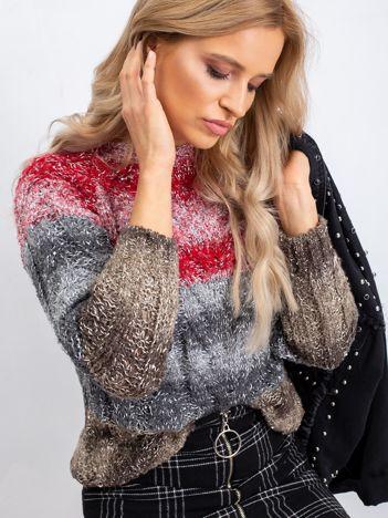 Czerwono-szary sweter Nevermind