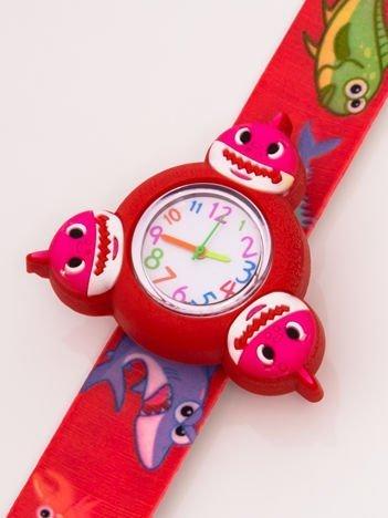 Czerwony OBROTOWY zegarek dziecięcy z paskiem typu SLAP