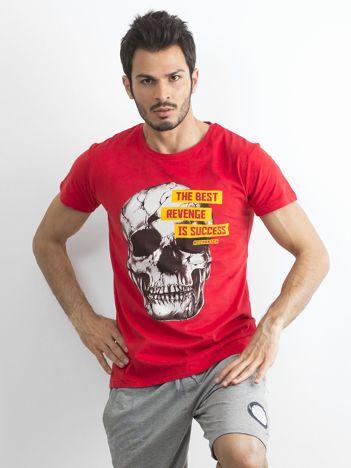 70b344712c318 Czerwony bawełniany t-shirt męski z printem