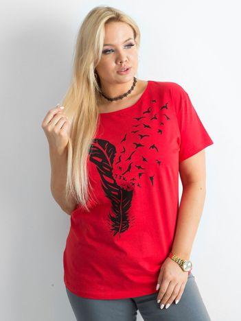 Czerwony damski t-shirt z nadrukiem PLUS SIZE