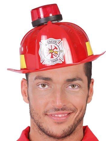 Czerwony kask strażaka ze świecącym kogutem