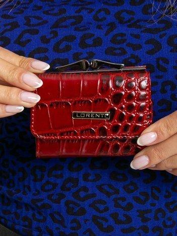 Czerwony mały portfel skórzany w zwierzęce wzory