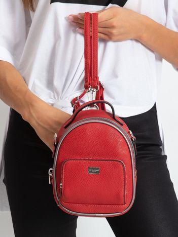 Czerwony mini plecak z ekoskóry