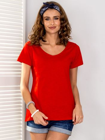 Czerwony t-shirt V-neck
