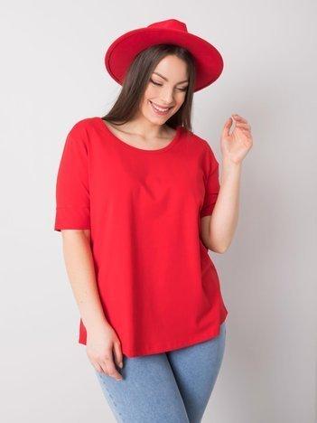 Czerwony t-shirt bawełniany plus size Missy