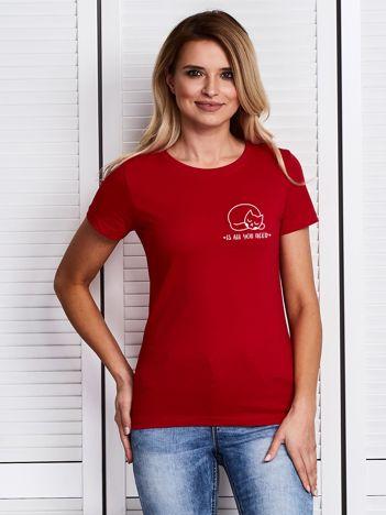Czerwony t-shirt damski CAT IS ALL YOU NEED z kotkiem