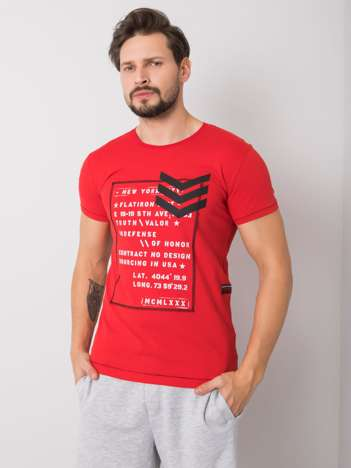 Czerwony t-shirt męski bawełniany Joshua