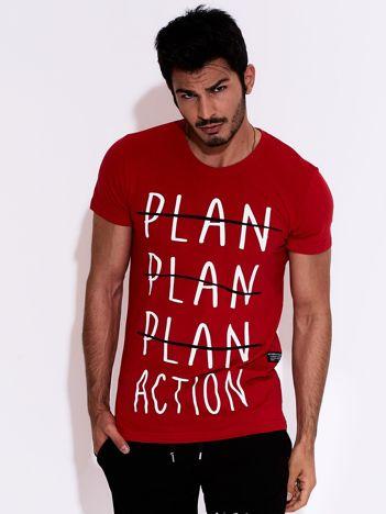 Czerwony t-shirt męski z motywacyjnym nadrukiem