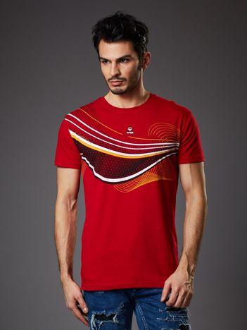 Czerwony t-shirt męski z nadrukiem