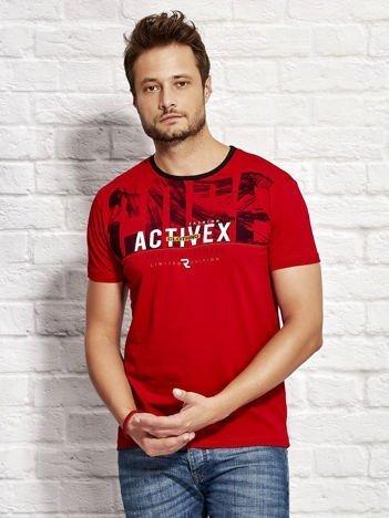 Czerwony t-shirt męski z printem