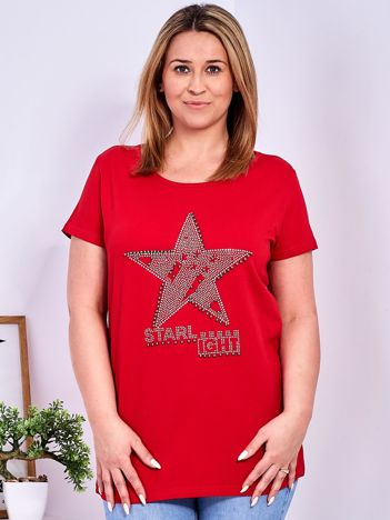 Czerwony t-shirt z błyszczącą gwiazdą PLUS SIZE