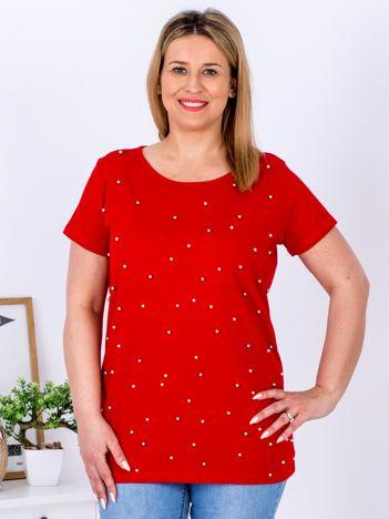 Czerwony t-shirt z perełkami PLUS SIZE