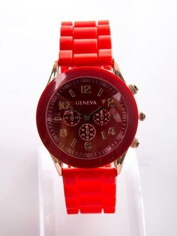 Czerwony zegarek damski z silikonowym paskiem