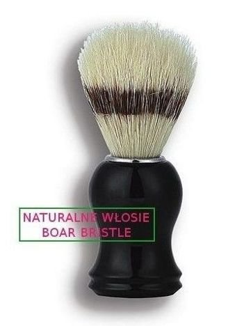 DONEGAL Pędzel do golenia Naturalne włosie dzika czarny okrągły (9615)