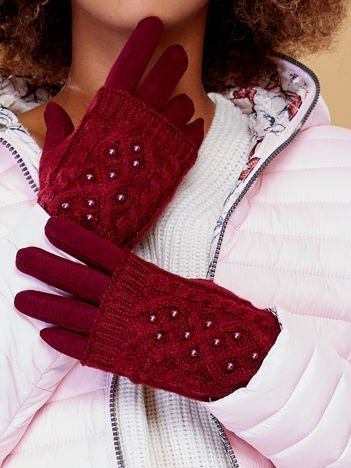 DOTYKOWE Bordowe Rękawiczki MITENKI Zdobione Perłami