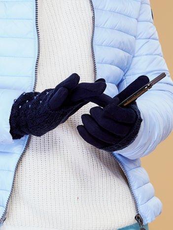 DOTYKOWE Granatowe Rękawiczki MITENKI Zdobione Perłami