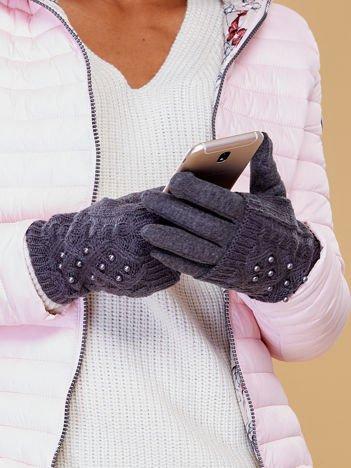 DOTYKOWE Szare rękawiczki MITENKI Zdobione Perłami