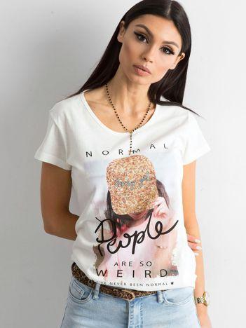 Damska koszulka z nadrukiem ecru
