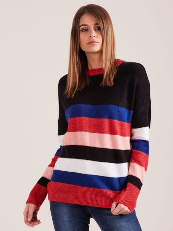 Damski sweter w kolorowe paski