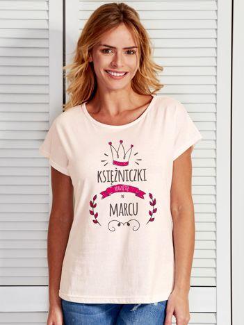 Damski t-shirt KSIĘŻNICZKI RODZĄ SIĘ W MARCU ecru