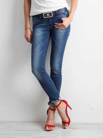 Damskie jeansy skinny niebieskie