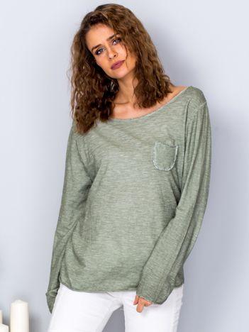 Dekatyzowana bluzka z kieszonką zielona
